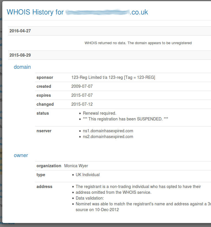 Domain WHOIS History
